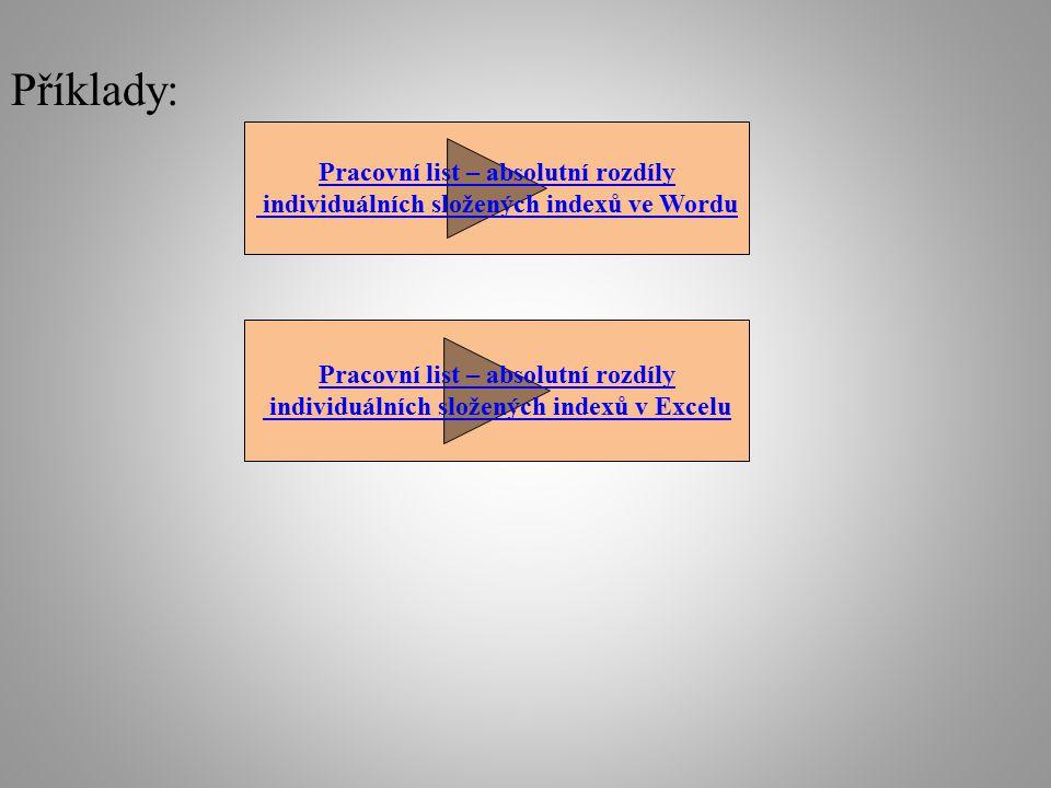 Příklady: Pracovní list – absolutní rozdíly individuálních složených indexů ve Wordu Pracovní list – absolutní rozdíly individuálních složených indexů v Excelu