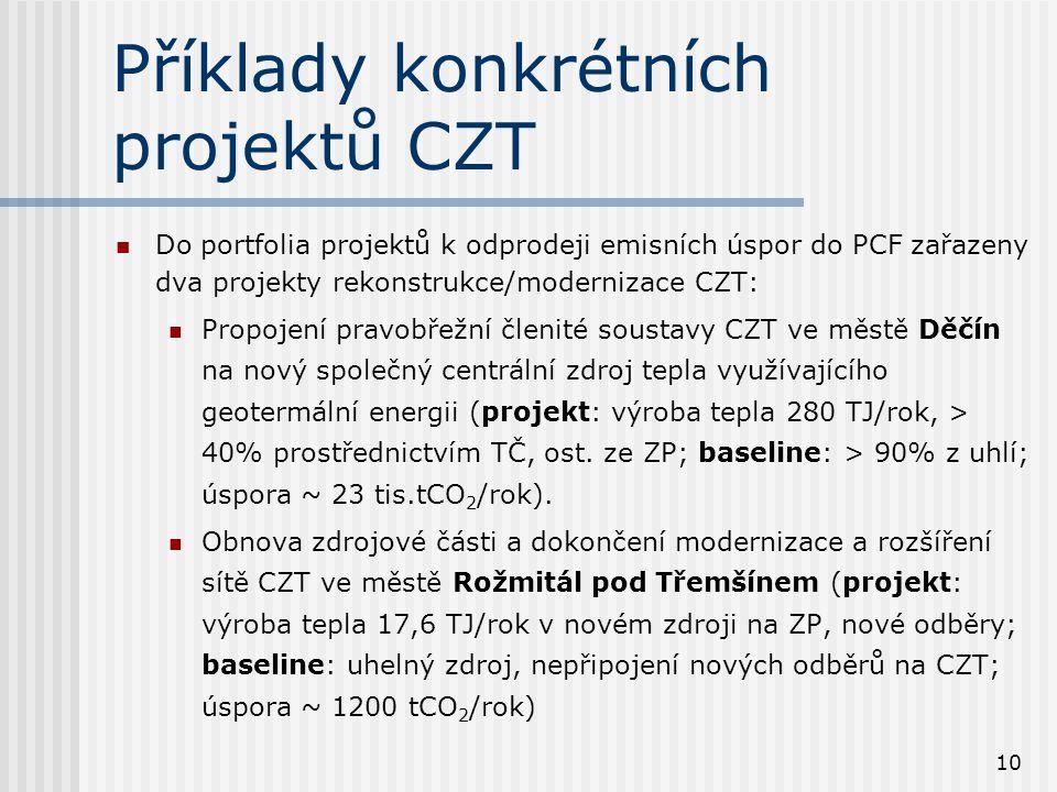 10 Příklady konkrétních projektů CZT Do portfolia projektů k odprodeji emisních úspor do PCF zařazeny dva projekty rekonstrukce/modernizace CZT: Propojení pravobřežní členité soustavy CZT ve městě Děčín na nový společný centrální zdroj tepla využívajícího geotermální energii (projekt: výroba tepla 280 TJ/rok, > 40% prostřednictvím TČ, ost.