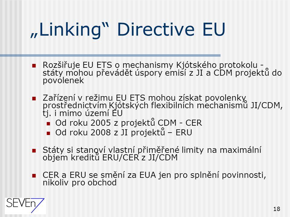 """18 """"Linking Directive EU Rozšiřuje EU ETS o mechanismy Kjótského protokolu - státy mohou převádět úspory emisí z JI a CDM projektů do povolenek Zařízení v režimu EU ETS mohou získat povolenky prostřednictvím Kjótských flexibilních mechanismů JI/CDM, tj."""