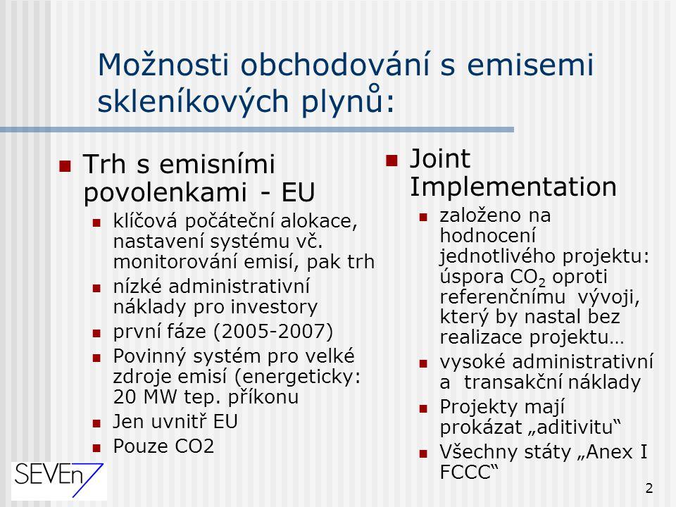 """2 Možnosti obchodování s emisemi skleníkových plynů: Joint Implementation založeno na hodnocení jednotlivého projektu: úspora CO 2 oproti referenčnímu vývoji, který by nastal bez realizace projektu… vysoké administrativní a transakční náklady Projekty mají prokázat """"aditivitu Všechny státy """"Anex I FCCC Trh s emisními povolenkami - EU klíčová počáteční alokace, nastavení systému vč."""