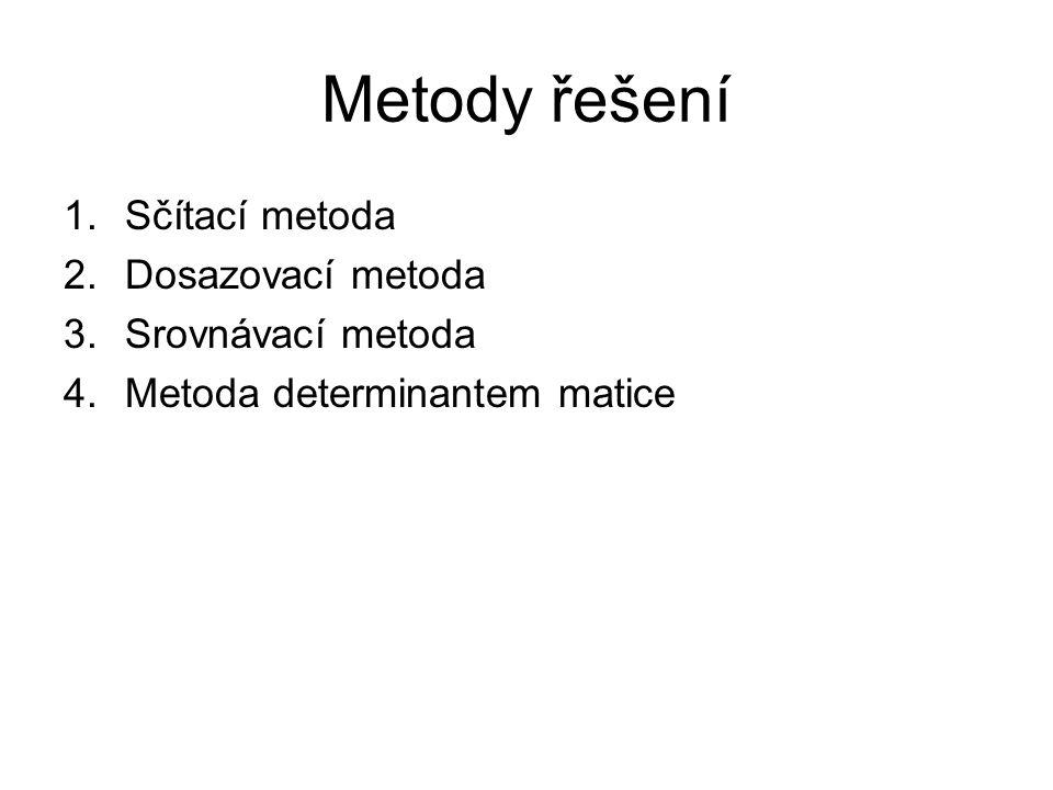Metody řešení 1.Sčítací metoda 2.Dosazovací metoda 3.Srovnávací metoda 4.Metoda determinantem matice