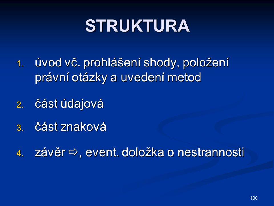 100 STRUKTURA 1.úvod vč. prohlášení shody, položení právní otázky a uvedení metod 2.