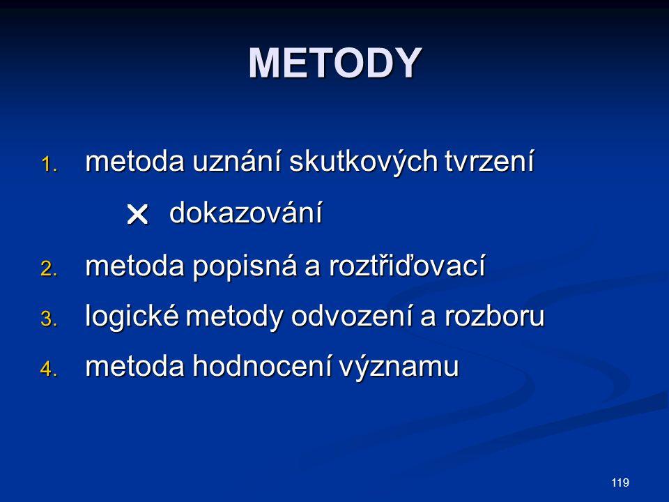 119 METODY 1.metoda uznání skutkových tvrzení  dokazování  dokazování 2.