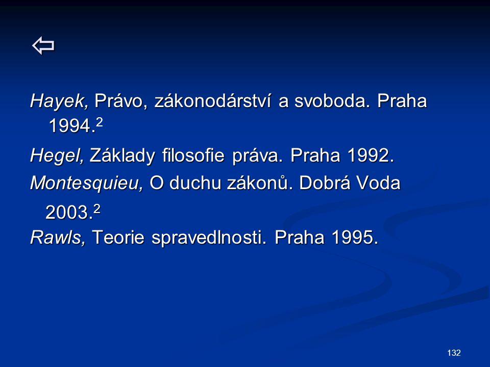132  Hayek, Právo, zákonodárství a svoboda.Praha 1994.