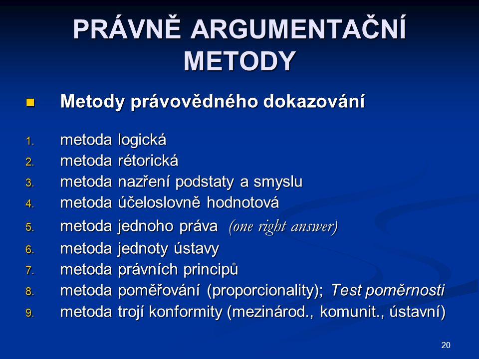 20 PRÁVNĚ ARGUMENTAČNÍ METODY Metody právovědného dokazování Metody právovědného dokazování 1.
