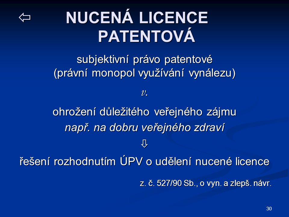 30  NUCENÁ LICENCE PATENTOVÁ subjektivní právo patentové (právní monopol využívání vynálezu) v.