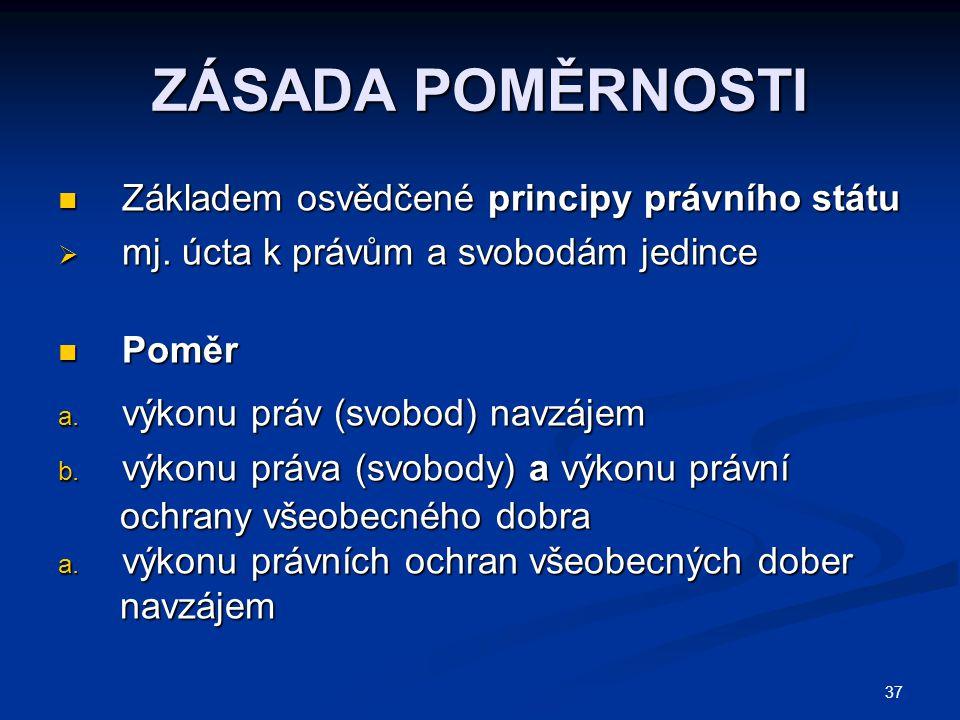 37 ZÁSADA POMĚRNOSTI Základem osvědčené principy právního státu Základem osvědčené principy právního státu  mj.