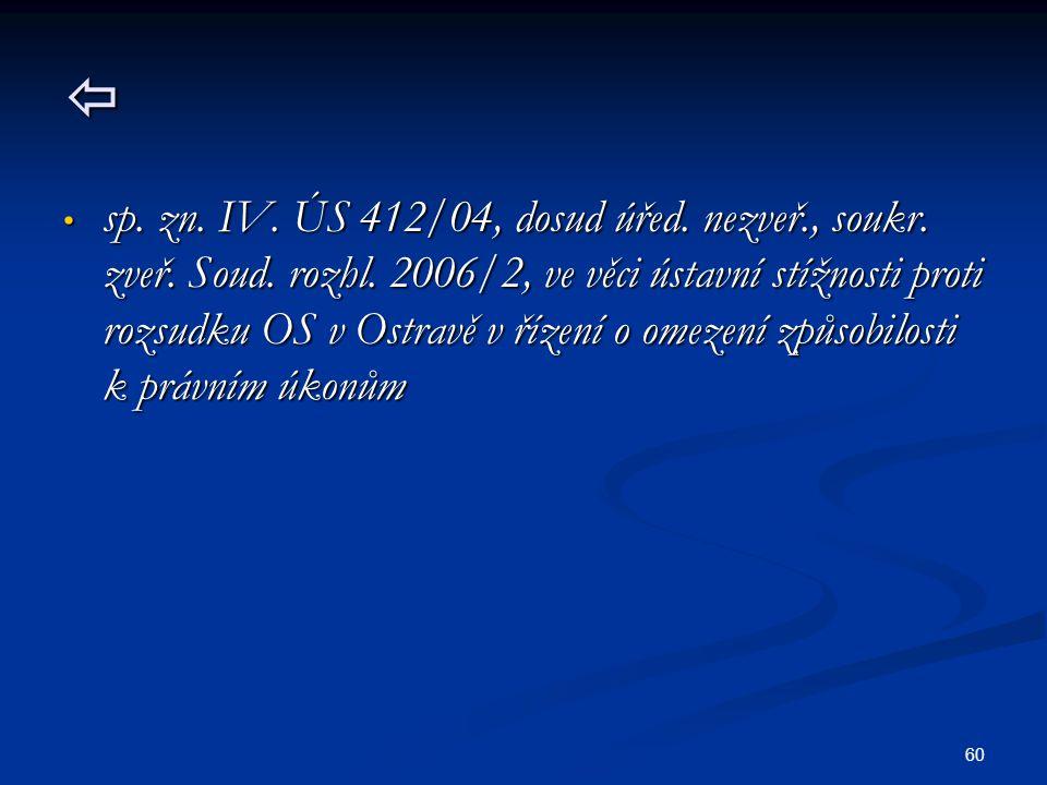 60  sp.zn. IV. ÚS 412/04, dosud úřed. nezveř., soukr.