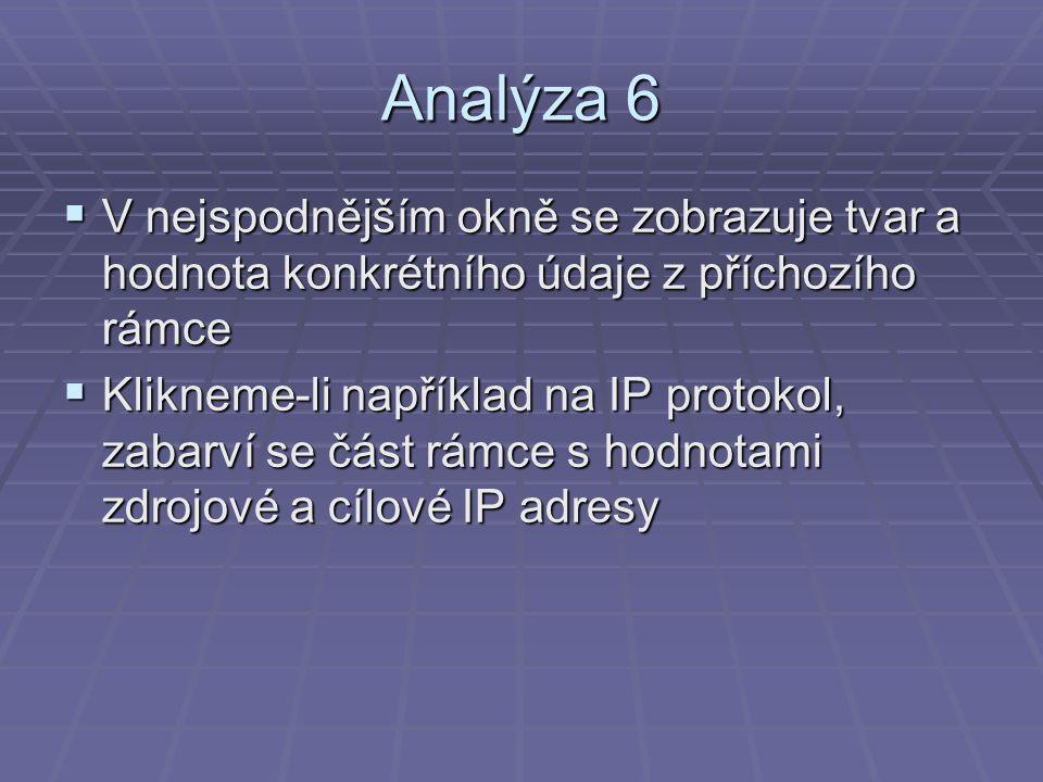 Analýza 6  V nejspodnějším okně se zobrazuje tvar a hodnota konkrétního údaje z příchozího rámce  Klikneme-li například na IP protokol, zabarví se část rámce s hodnotami zdrojové a cílové IP adresy