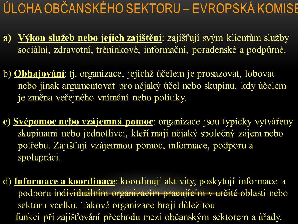 ÚLOHA OBČANSKÉHO SEKTORU – EVROPSKÁ KOMISE a)Výkon služeb nebo jejich zajištění: zajišťují svým klientům služby sociální, zdravotní, tréninkové, infor