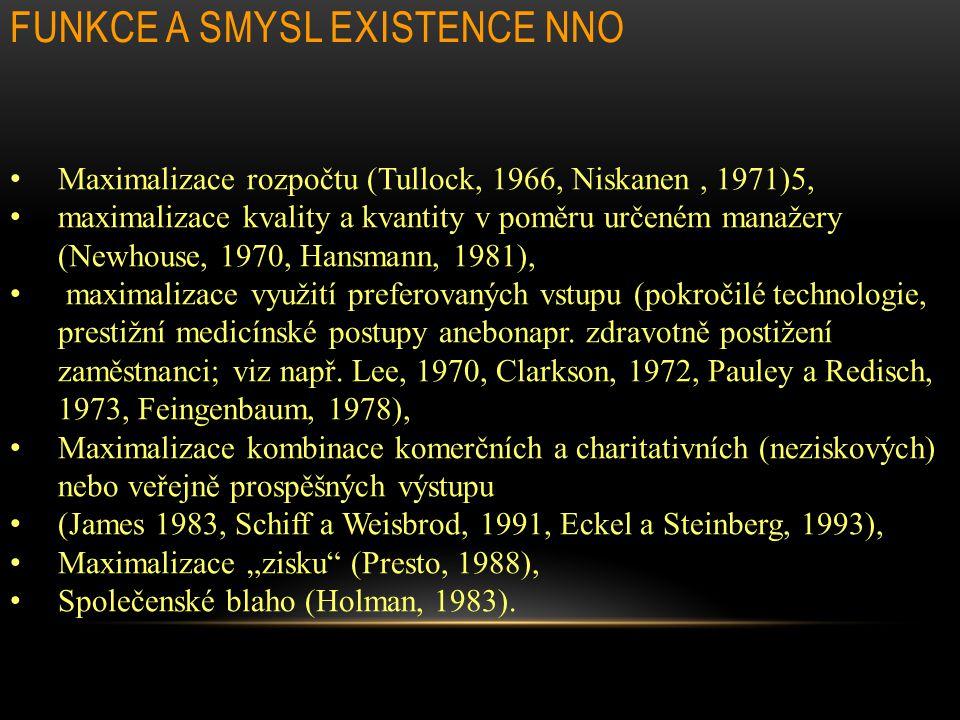 FUNKCE A SMYSL EXISTENCE NNO Maximalizace rozpočtu (Tullock, 1966, Niskanen, 1971)5, maximalizace kvality a kvantity v poměru určeném manažery (Newhouse, 1970, Hansmann, 1981), maximalizace využití preferovaných vstupu (pokročilé technologie, prestižní medicínské postupy anebonapr.