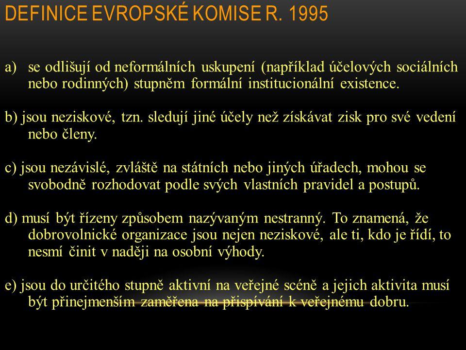 DEFINICE EVROPSKÉ KOMISE R. 1995 a)se odlišují od neformálních uskupení (například účelových sociálních nebo rodinných) stupněm formální institucionál