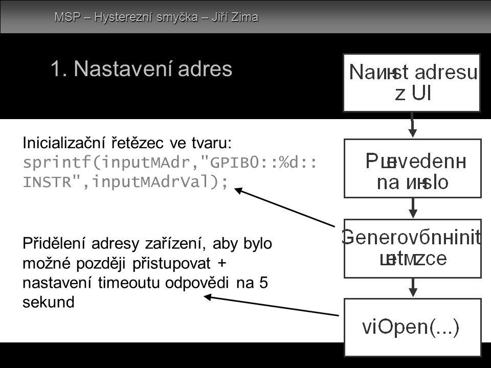 1. Nastavení adres MSP – Hysterezní smyčka – Jiří Zima Inicializační řetězec ve tvaru: sprintf(inputMAdr,