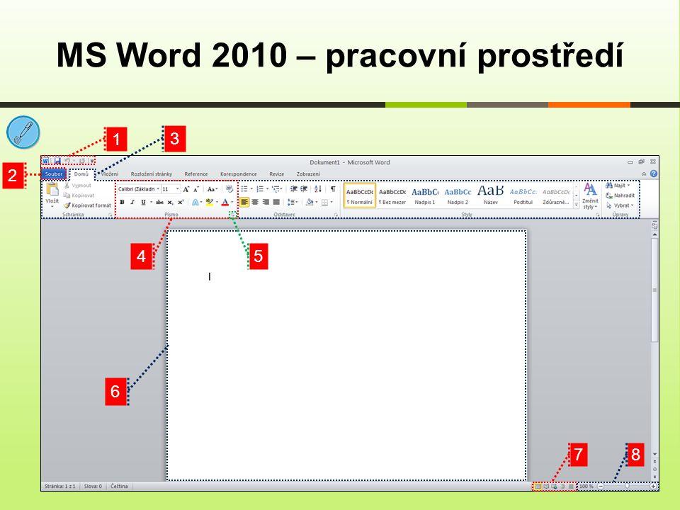 MS Word 2010 – pracovní prostředí 1 2 3 4 6 5 78