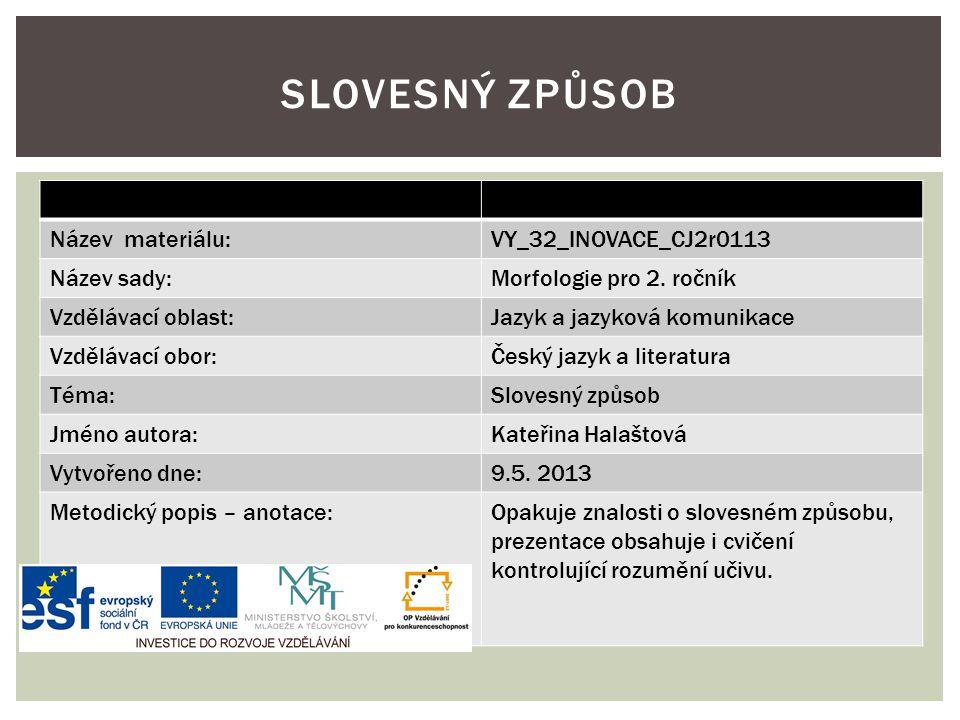 Název materiálu:VY_32_INOVACE_CJ2r0113 Název sady:Morfologie pro 2.