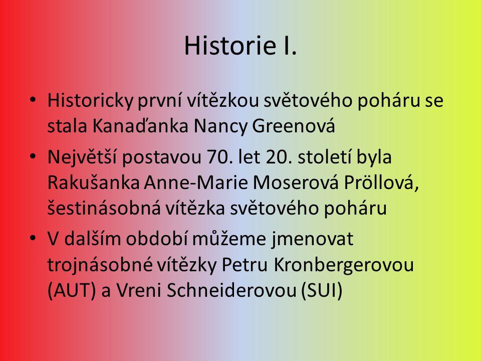 Historie I. Historicky první vítězkou světového poháru se stala Kanaďanka Nancy Greenová Největší postavou 70. let 20. století byla Rakušanka Anne-Mar
