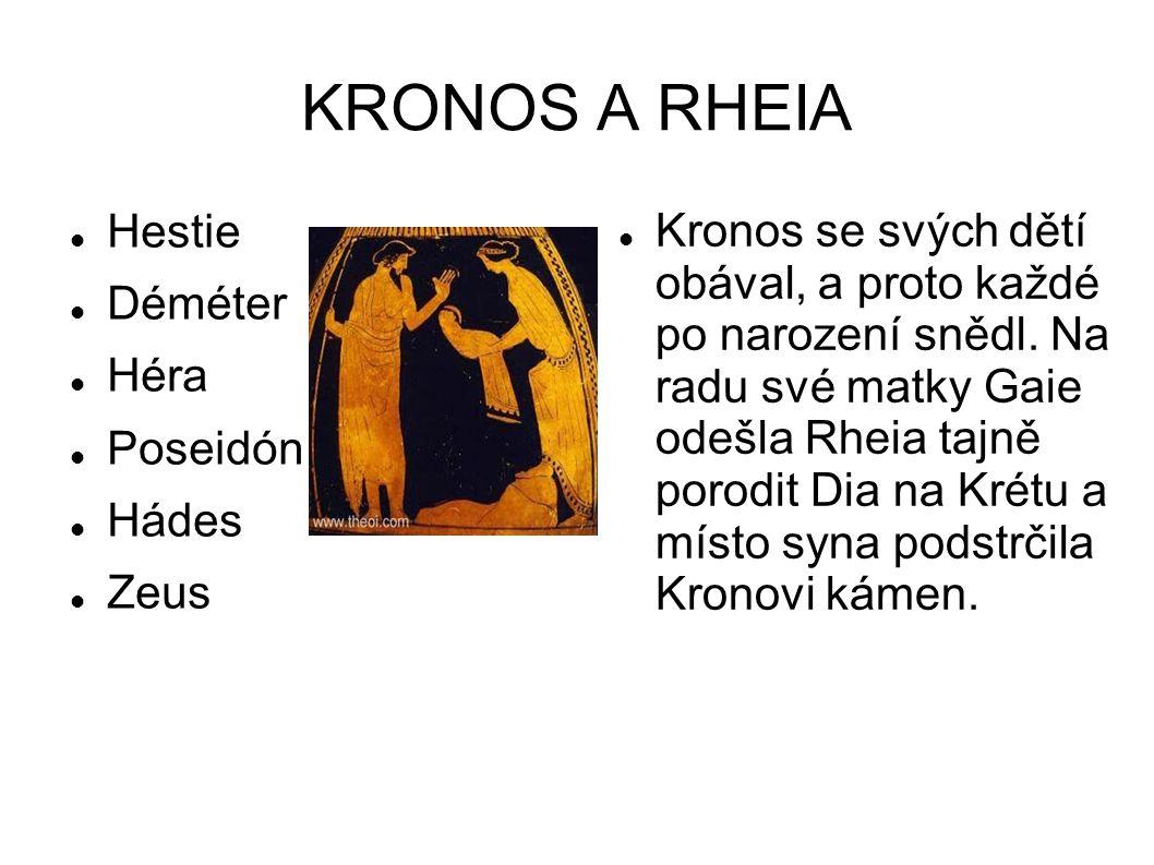 KRONOS A RHEIA Hestie Déméter Héra Poseidón Hádes Zeus Kronos se svých dětí obával, a proto každé po narození snědl. Na radu své matky Gaie odešla Rhe