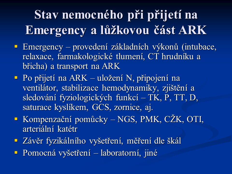 Stav nemocného při přijetí na Emergency a lůžkovou část ARK  Emergency – provedení základních výkonů (intubace, relaxace, farmakologické tlumení, CT