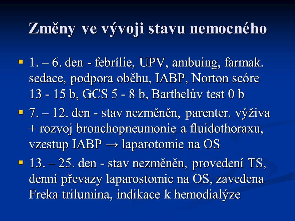Změny ve vývoji stavu nemocného  1. – 6. den - febrílie, UPV, ambuing, farmak. sedace, podpora oběhu, IABP, Norton scóre 13 - 15 b, GCS 5 - 8 b, Bart