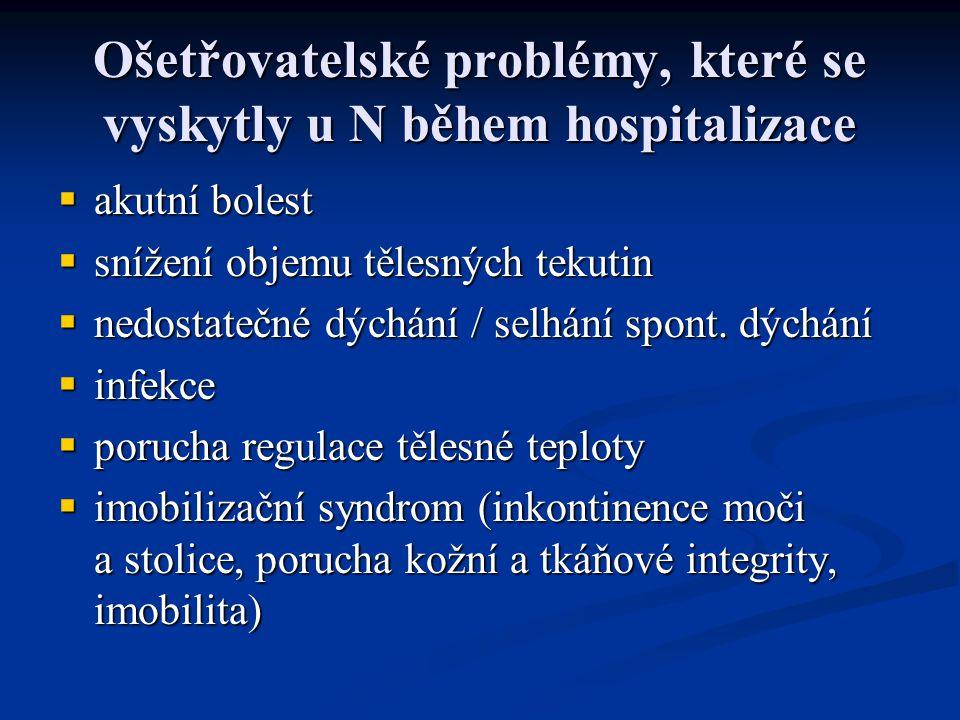 Ošetřovatelské problémy, které se vyskytly u N během hospitalizace  akutní bolest  snížení objemu tělesných tekutin  nedostatečné dýchání / selhání