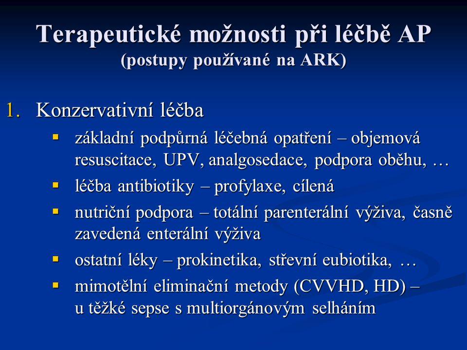 Terapeutické možnosti při léčbě AP (postupy používané na ARK) 1.Konzervativní léčba  základní podpůrná léčebná opatření – objemová resuscitace, UPV,