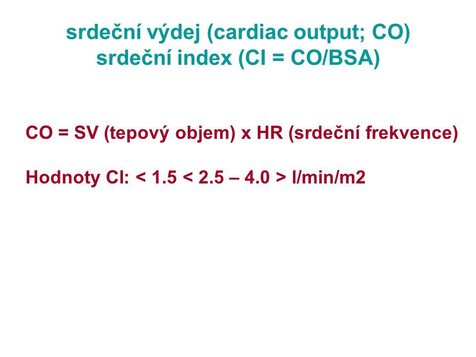 srdeční výdej (cardiac output; CO) srdeční index (CI = CO/BSA) CO = SV (tepový objem) x HR (srdeční frekvence) Hodnoty CI: l/min/m2