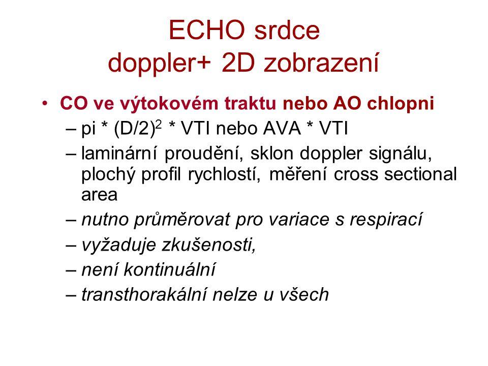 ECHO srdce doppler+ 2D zobrazení CO ve výtokovém traktu nebo AO chlopni –pi * (D/2) 2 * VTI nebo AVA * VTI –laminární proudění, sklon doppler signálu, plochý profil rychlostí, měření cross sectional area –nutno průměrovat pro variace s respirací –vyžaduje zkušenosti, –není kontinuální –transthorakální nelze u všech