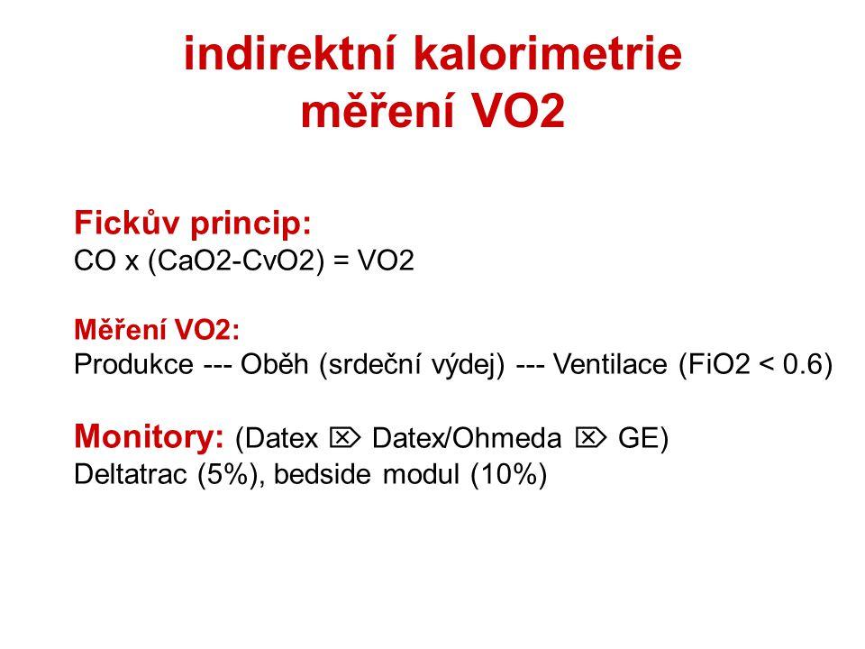 indirektní kalorimetrie měření VO2 Fickův princip: CO x (CaO2-CvO2) = VO2 Měření VO2: Produkce --- Oběh (srdeční výdej) --- Ventilace (FiO2 < 0.6) Monitory: (Datex  Datex/Ohmeda  GE) Deltatrac (5%), bedside modul (10%)