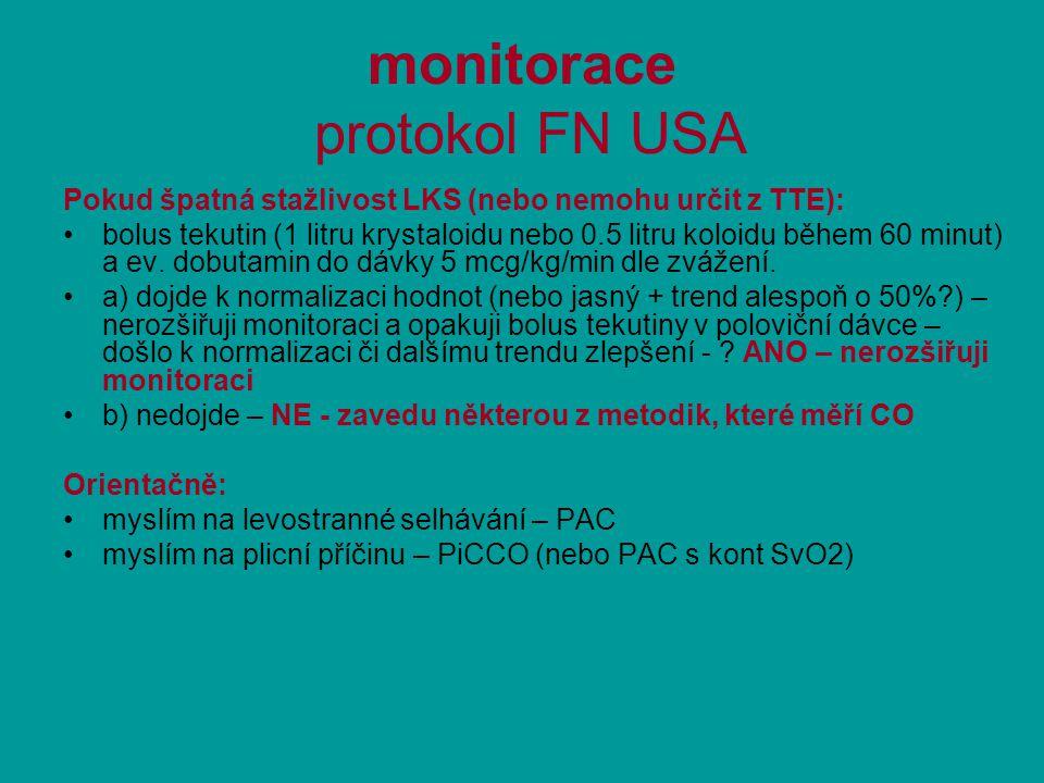 monitorace protokol FN USA Pokud špatná stažlivost LKS (nebo nemohu určit z TTE): bolus tekutin (1 litru krystaloidu nebo 0.5 litru koloidu během 60 minut) a ev.