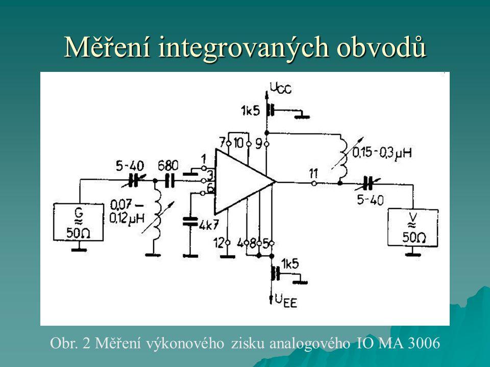 Měření integrovaných obvodů Obr. 2 Měření výkonového zisku analogového IO MA 3006