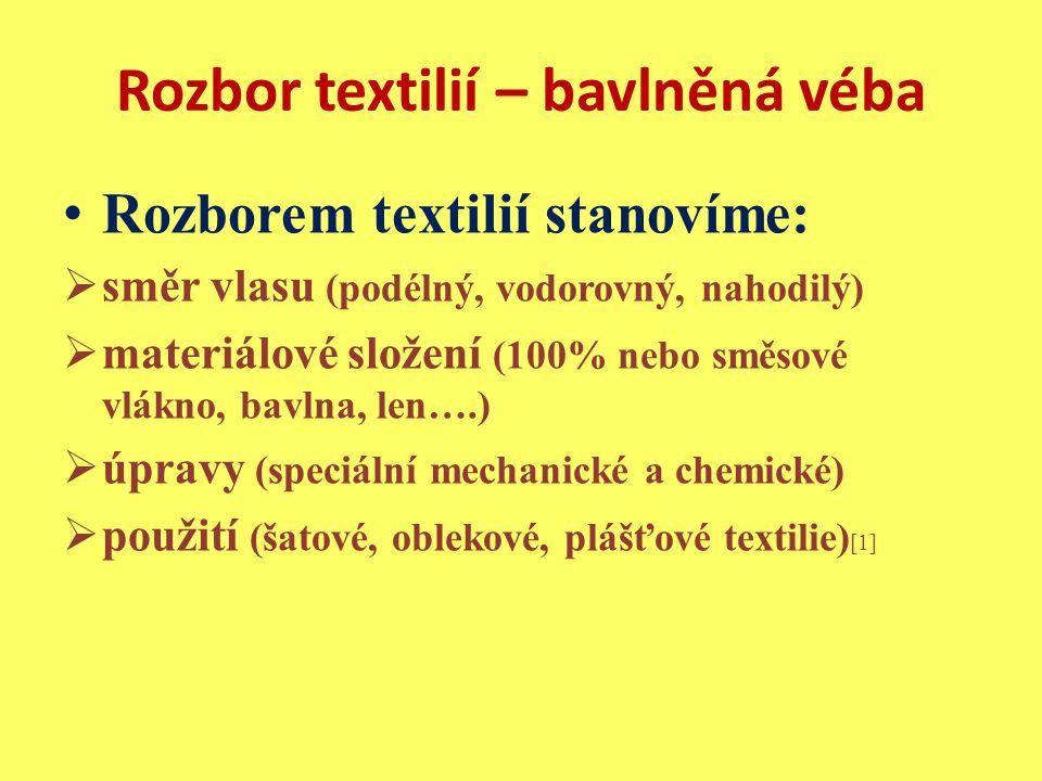 Rozbor textilií – bavlněná véba Rozborem textilií stanovíme:  směr vlasu (podélný, vodorovný, nahodilý)  materiálové složení (100% nebo směsové vlákno, bavlna, len….)  úpravy (speciální mechanické a chemické)  použití (šatové, oblekové, plášťové textilie) [1]