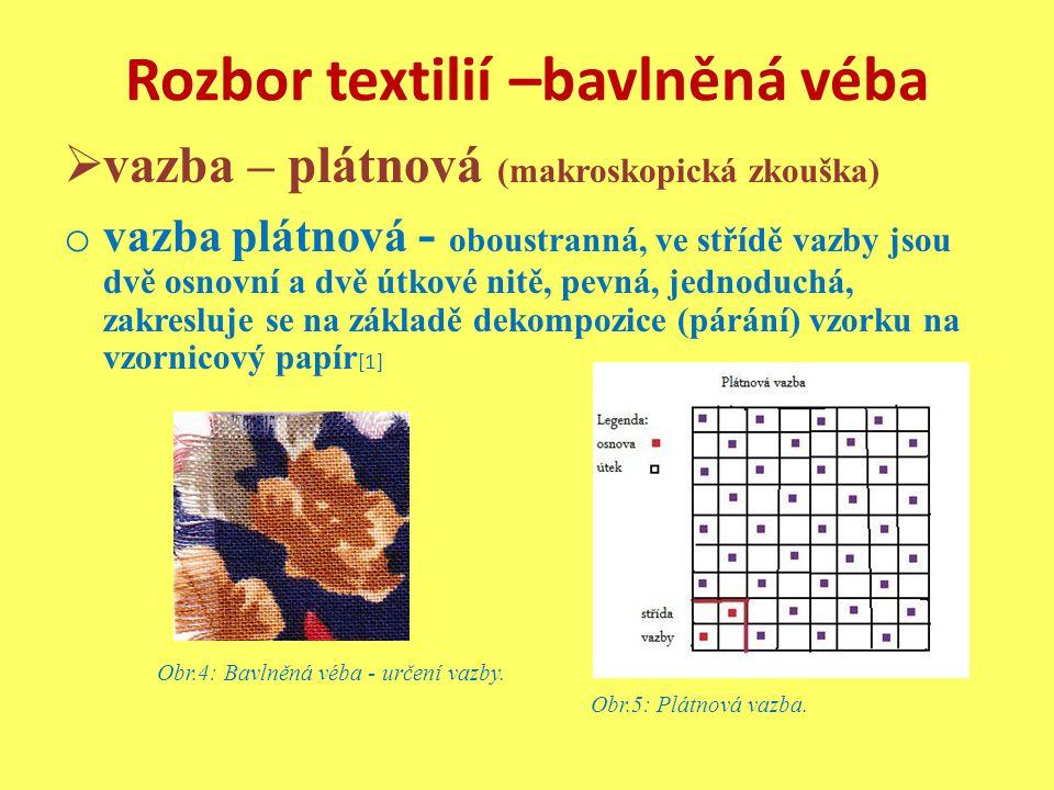 Rozbor textilií –bavlněná véba  vazba – plátnová (makroskopická zkouška) o vazba plátnová - oboustranná, ve střídě vazby jsou dvě osnovní a dvě útkové nitě, pevná, jednoduchá, zakresluje se na základě dekompozice (párání) vzorku na vzornicový papír [1] Obr.4: Bavlněná véba - určení vazby.