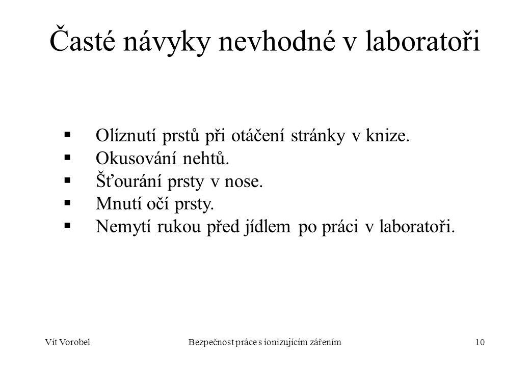 Vít VorobelBezpečnost práce s ionizujícím zářením11 Pravidla práce v laboratoři  Dbát pokynů vyučujících.
