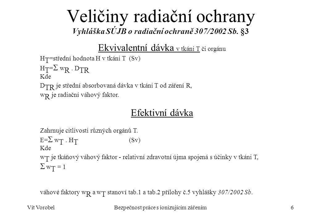 Vít VorobelBezpečnost práce s ionizujícím zářením7 Limity ozáření Vyhláška SÚJB o radiační ochraně 307/2002 Sb.