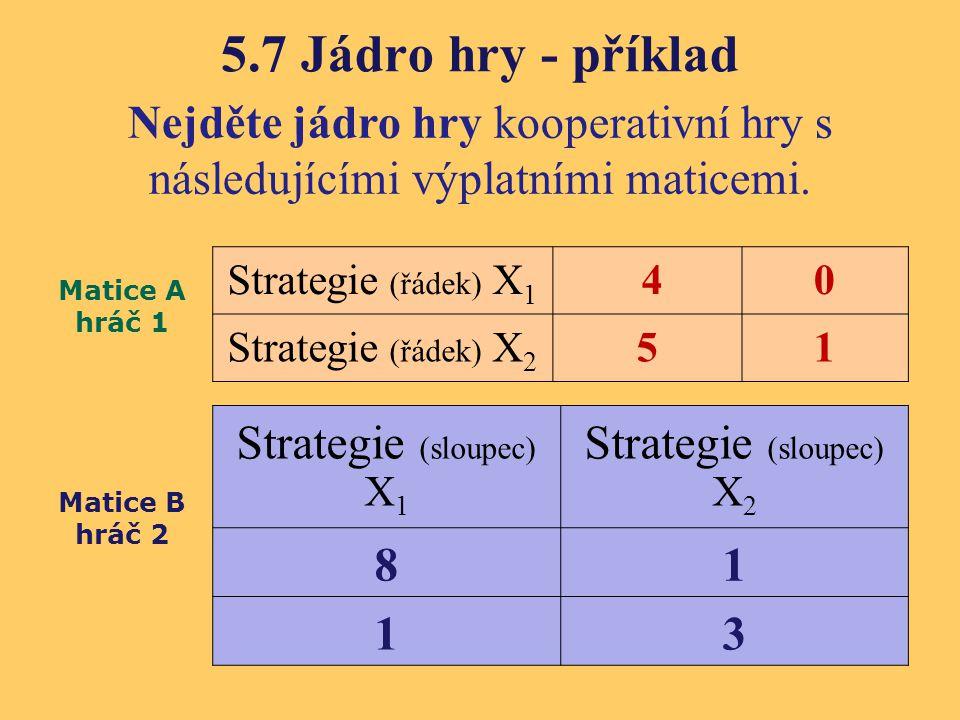 5.7 Jádro hry - příklad Nejděte jádro hry kooperativní hry s následujícími výplatními maticemi. Strategie (řádek) X 1 40 Strategie (řádek) X 2 51 Stra