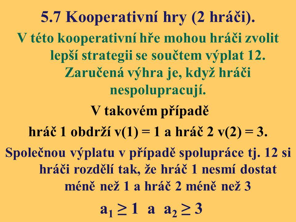 5.7 Kooperativní hry (2 hráči). V této kooperativní hře mohou hráči zvolit lepší strategii se součtem výplat 12. Zaručená výhra je, když hráči nespolu