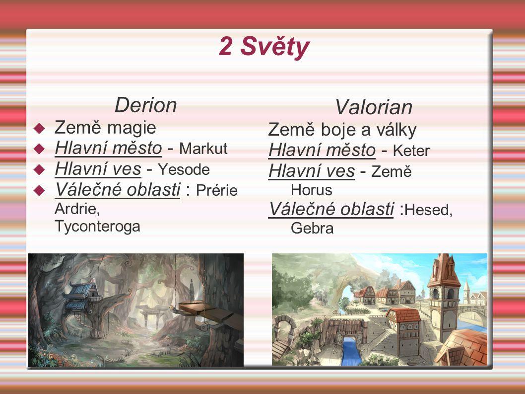 2 Světy Derion  Země magie  Hlavní město - Markut  Hlavní ves - Yesode  Válečné oblasti : Prérie Ardrie, Tyconteroga Valorian Země boje a války Hl