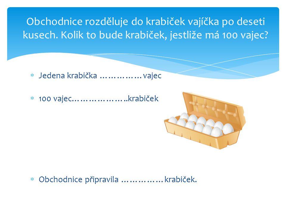  Jedena krabička ……………vajec  100 vajec………………..krabiček  Obchodnice připravila ……………krabiček.