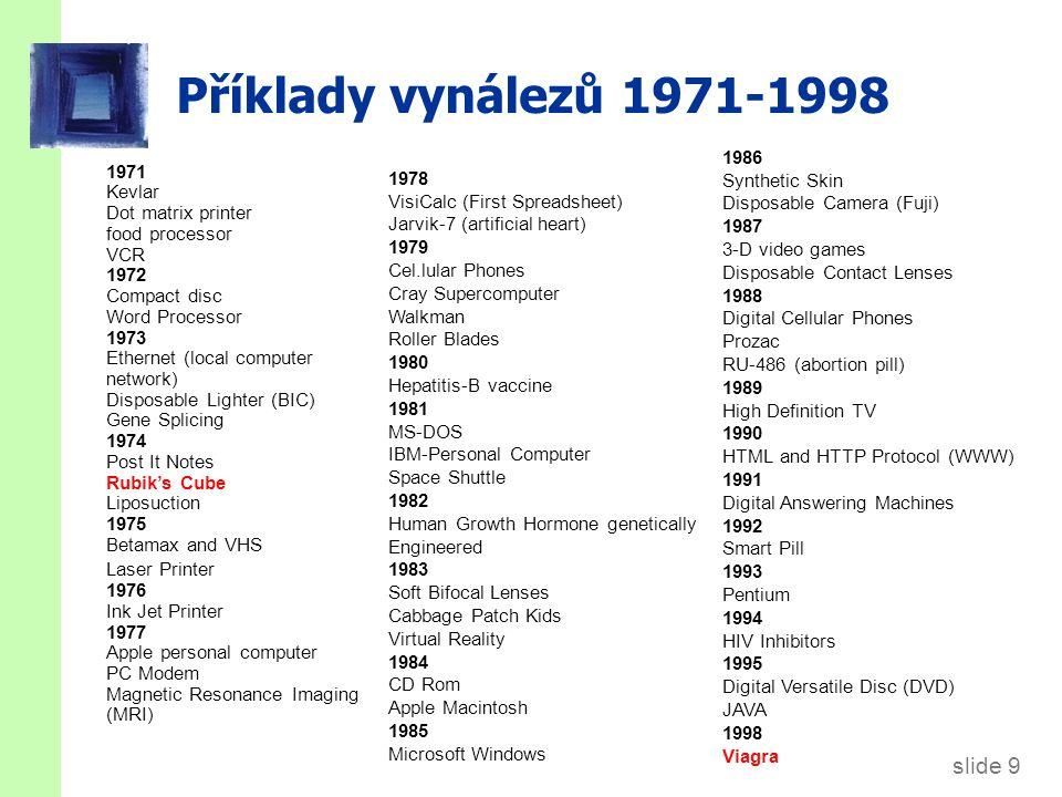 slide 9 Příklady vynálezů 1971-1998 1971 Kevlar Dot matrix printer food processor VCR 1972 Compact disc Word Processor 1973 Ethernet (local computer n
