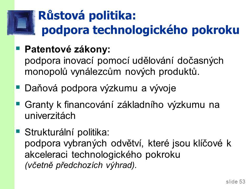 slide 53 Růstová politika: podpora technologického pokroku  Patentové zákony: podpora inovací pomocí udělování dočasných monopolů vynálezcům nových p