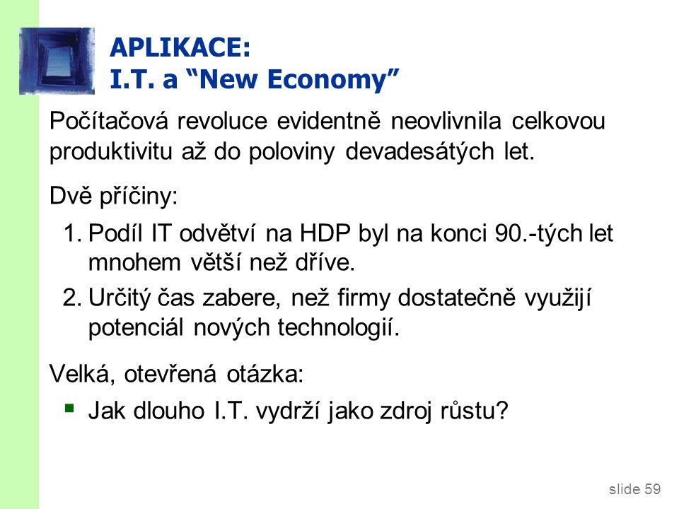 """slide 59 APLIKACE: I.T. a """"New Economy"""" Počítačová revoluce evidentně neovlivnila celkovou produktivitu až do poloviny devadesátých let. Dvě příčiny:"""