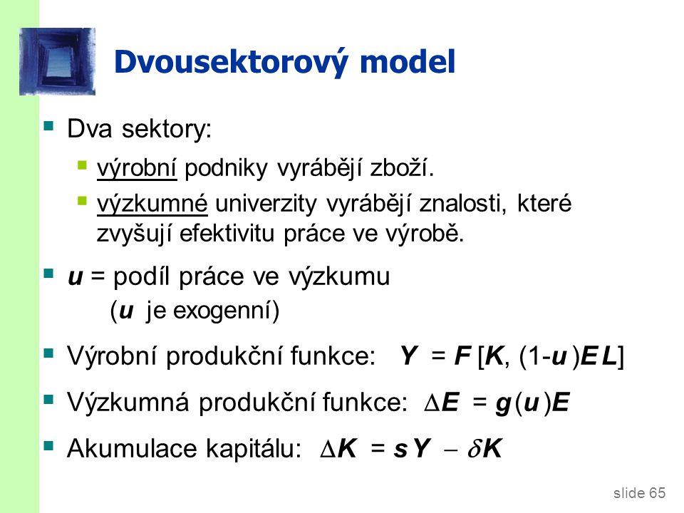 slide 65 Dvousektorový model  Dva sektory:  výrobní podniky vyrábějí zboží.  výzkumné univerzity vyrábějí znalosti, které zvyšují efektivitu práce