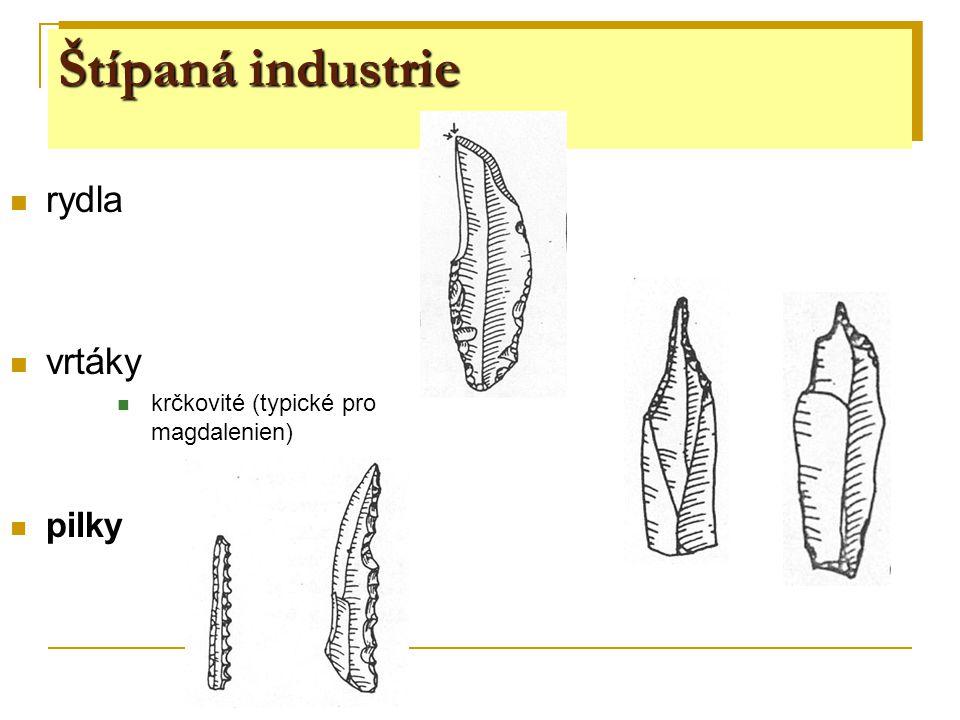 Štípaná industrie rydla vrtáky krčkovité (typické pro magdalenien) pilky