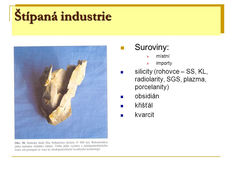 Štípaná industrie Suroviny:  místní  importy silicity (rohovce – SS, KL, radiolarity, SGS, plazma, porcelanity) obsidián křišťál kvarcit