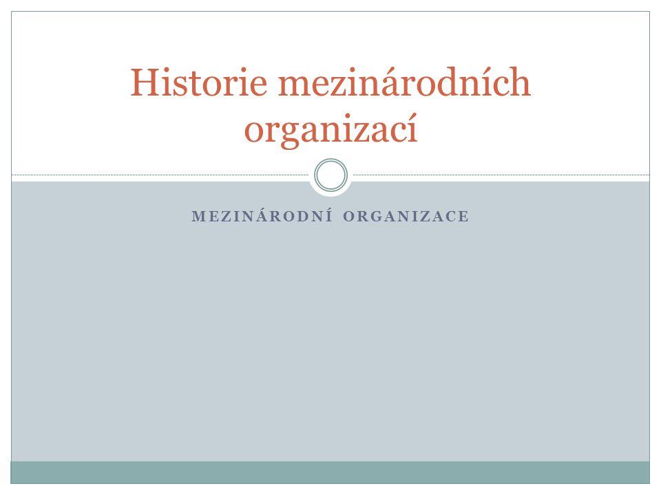 MEZINÁRODNÍ ORGANIZACE Historie mezinárodních organizací