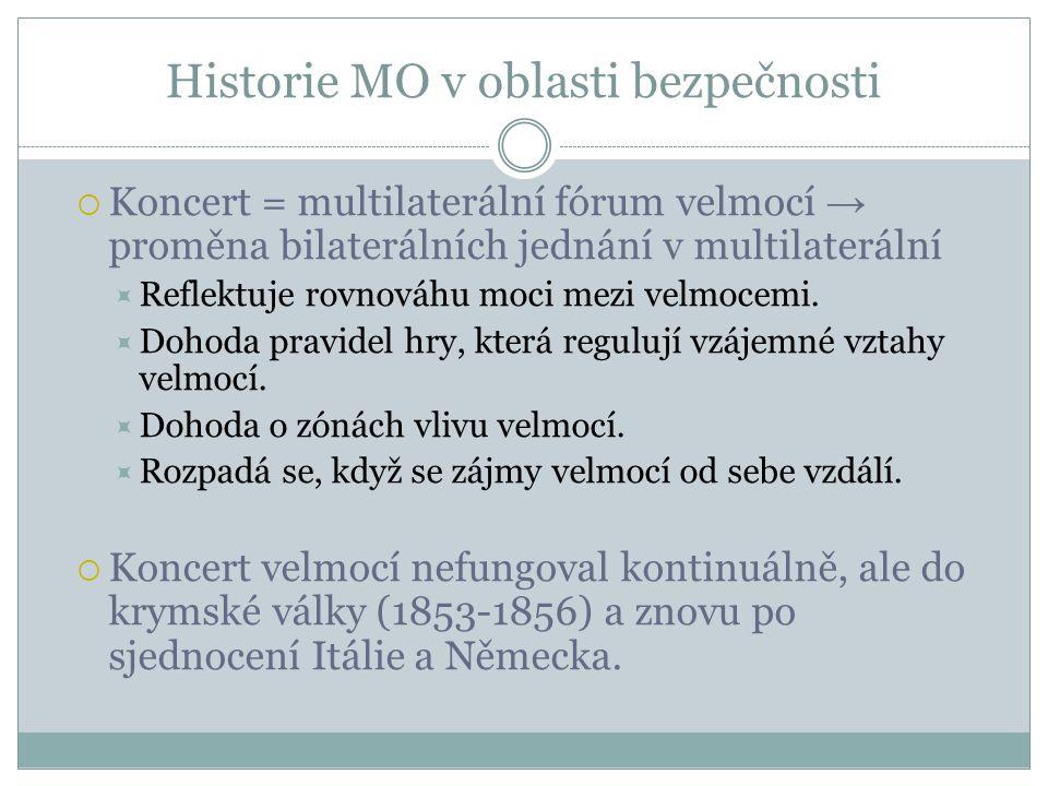 Historie MO v oblasti bezpečnosti  Koncert = multilaterální fórum velmocí → proměna bilaterálních jednání v multilaterální  Reflektuje rovnováhu moci mezi velmocemi.