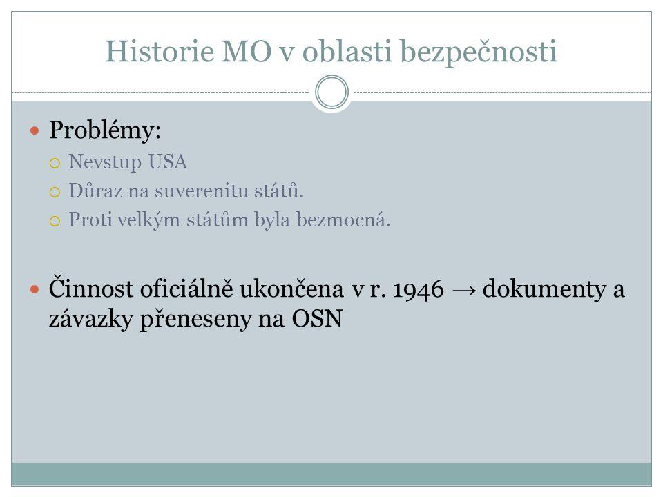 Historie MO v oblasti bezpečnosti Problémy:  Nevstup USA  Důraz na suverenitu států.