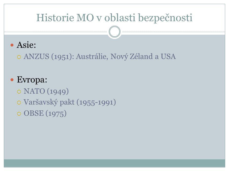 Historie MO v oblasti bezpečnosti Asie:  ANZUS (1951): Austrálie, Nový Zéland a USA Evropa:  NATO (1949)  Varšavský pakt (1955-1991)  OBSE (1975)