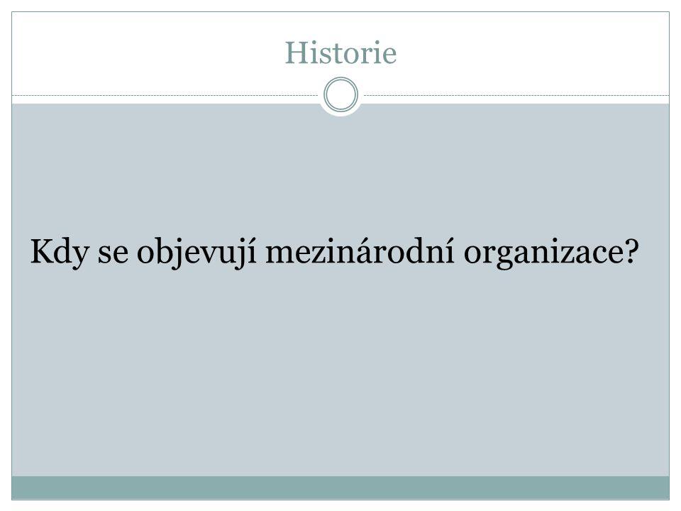Historie Kdy se objevují mezinárodní organizace