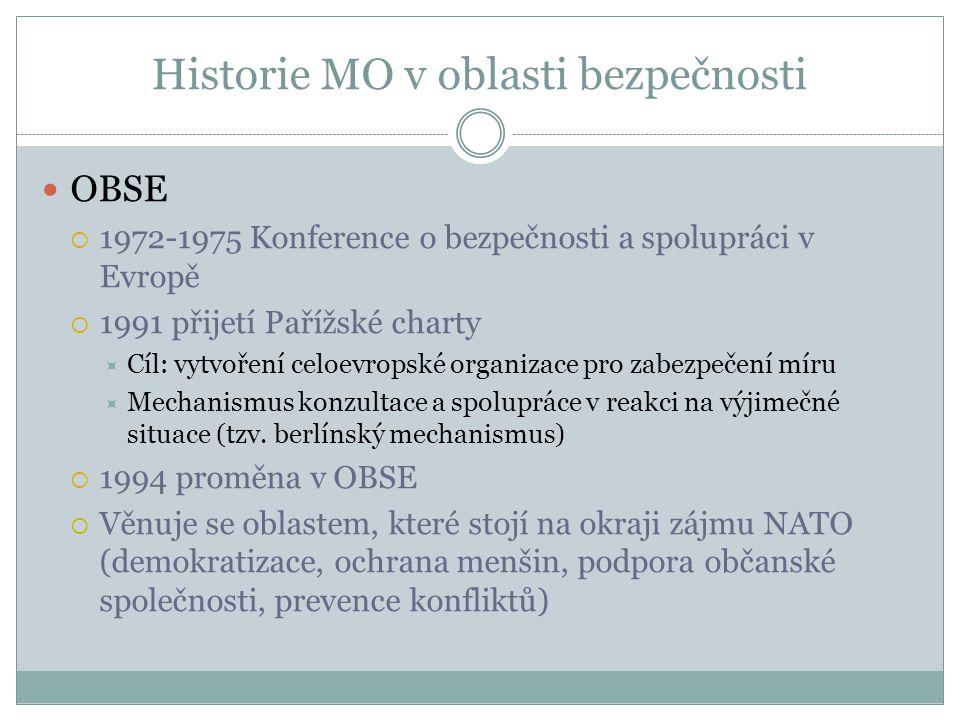 Historie MO v oblasti bezpečnosti OBSE  1972-1975 Konference o bezpečnosti a spolupráci v Evropě  1991 přijetí Pařížské charty  Cíl: vytvoření celoevropské organizace pro zabezpečení míru  Mechanismus konzultace a spolupráce v reakci na výjimečné situace (tzv.